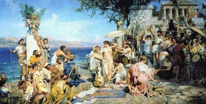 Фрина на святі Посейдона в Елевсіні   Генріх Семирадський