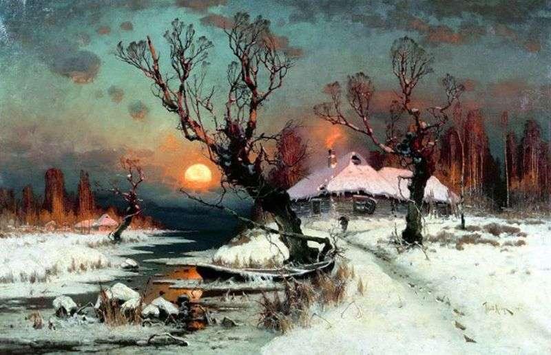 Захід сонця взимку   Юлій Конюшина
