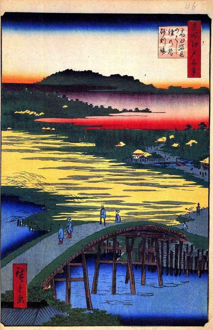 Міст Сугатамихаси, міст Омо кагэхаси та селище Дзяриба   Утагава Хиросигэ