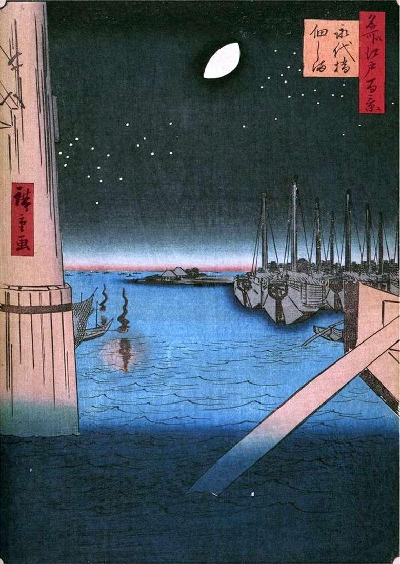 Острів Цукудадзима від мосту Эитайбаси   Утагава Хиросигэ