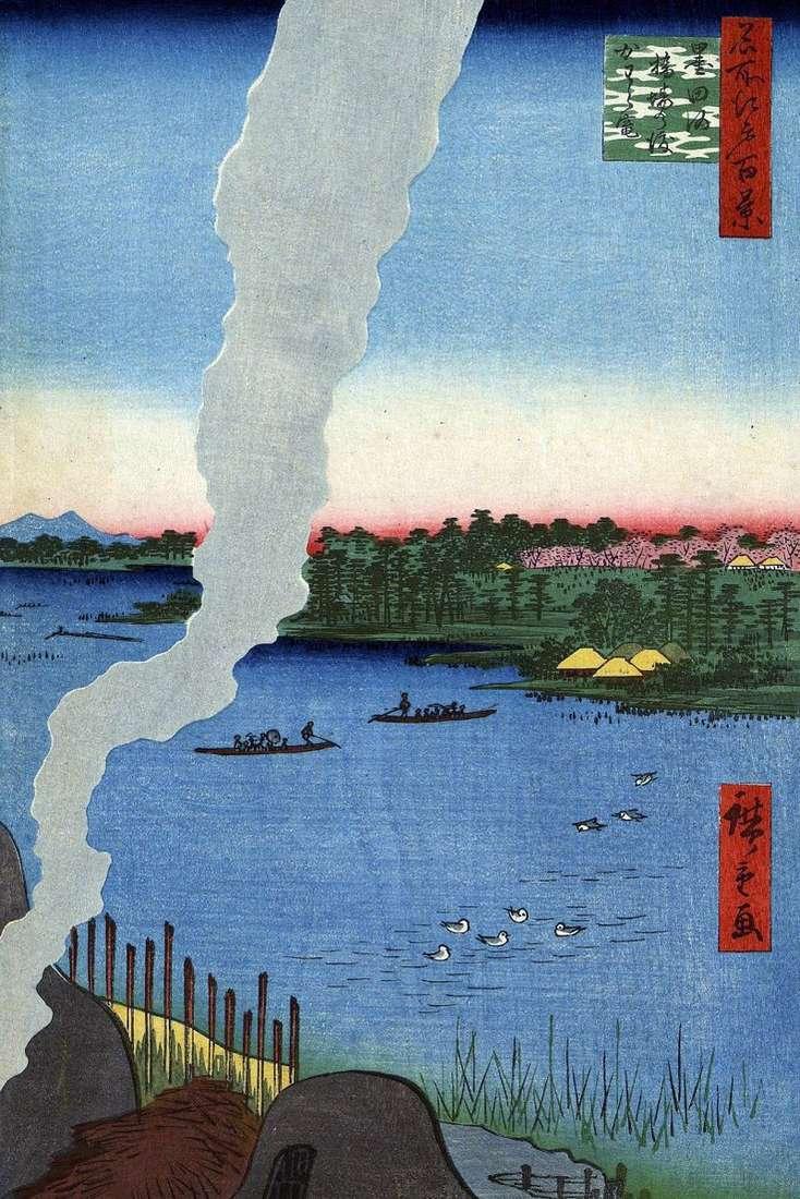 Печі для випалу біля переправи Хасиба але ватаси на річці Сумидагава   Утагава Хиросигэ