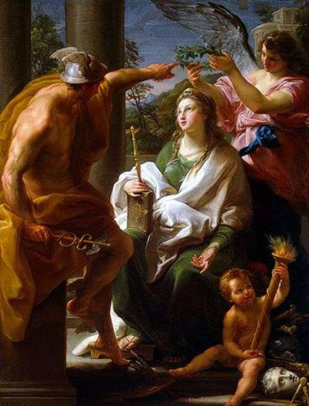 Меркурій, коронующий Філософію, Мати Мистецтв   Помпео Батоні