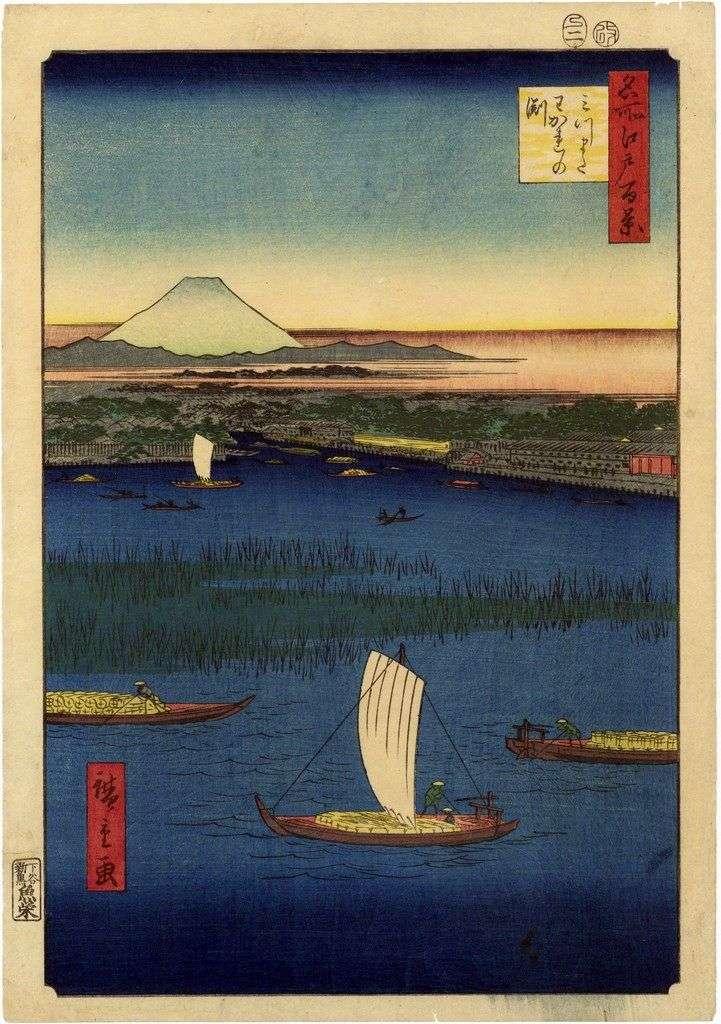 Протоки в Мицумата. Вакарэ нофунти   Утагава Хиросигэ