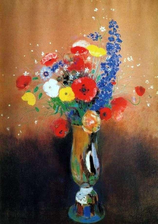 Польові квіти у високій вазі   Одилон Редон