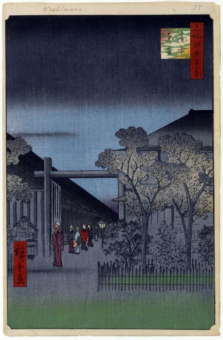 Світанок у кварталі Есивара   Утагава Хиросигэ