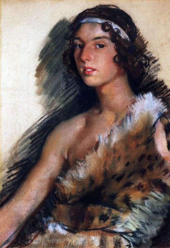 Портрет Р. М. Баланчивадзе (Дж. Баланчина) в костюмі Вакха   Зінаїда Серебрякова