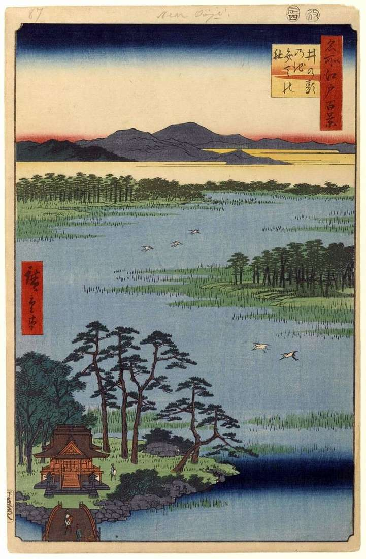 Святилище Бентен на ставку Инокасира але икэ   Утагава Хиросигэ