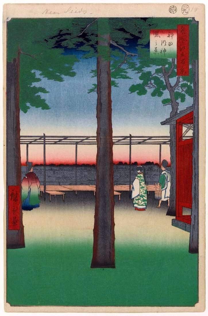 Святиня Канда медзин на світанку   Утагава Хиросигэ