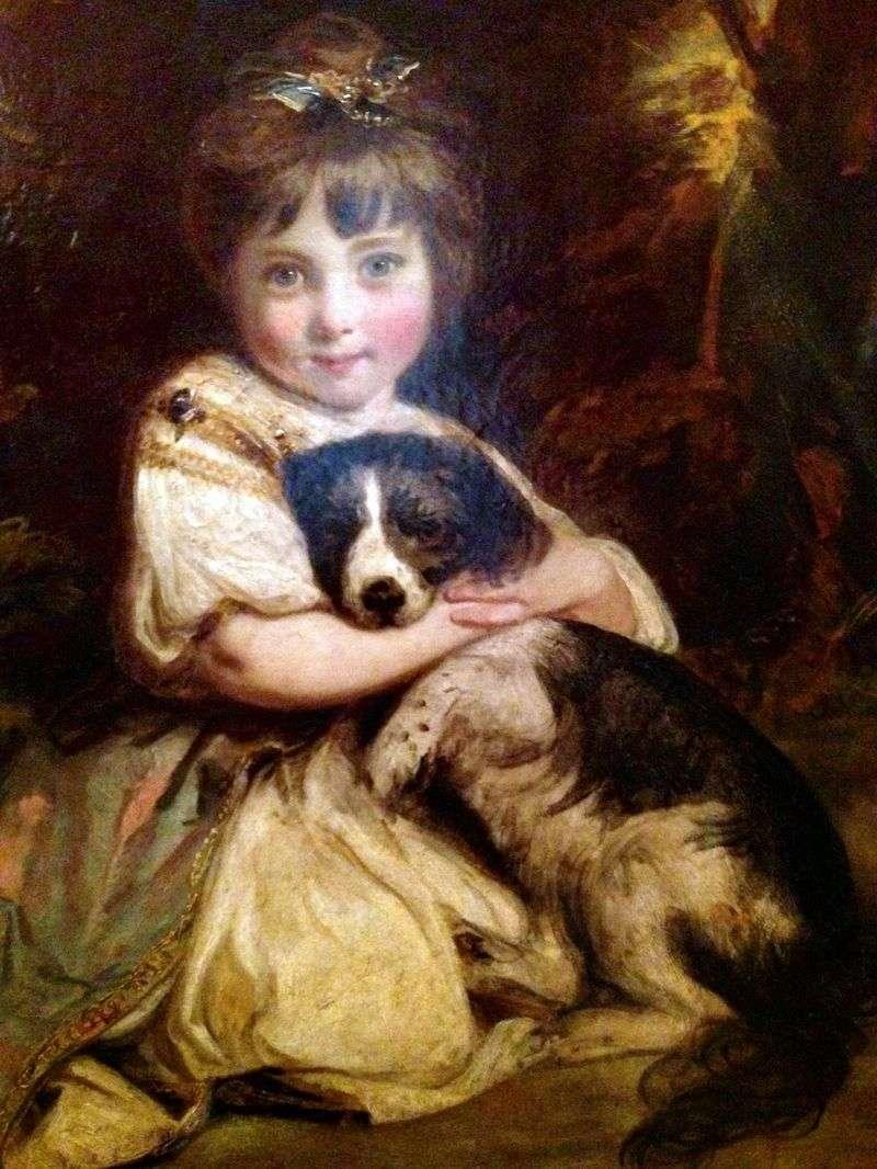 Портрет міс Боулз з собакою   Джошуа Рейнолдс