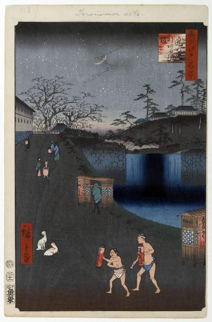 Схил Аоидзака за воротами Тораномон   Утагава Хиросигэ