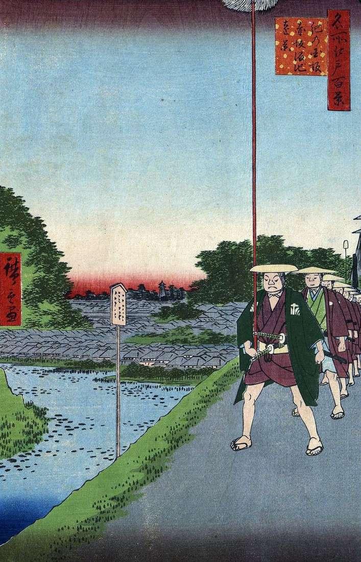 Схил Кинокунидзака і далекий вид на ставок Тамэикэ у Акасака   Утагава Хиросигэ