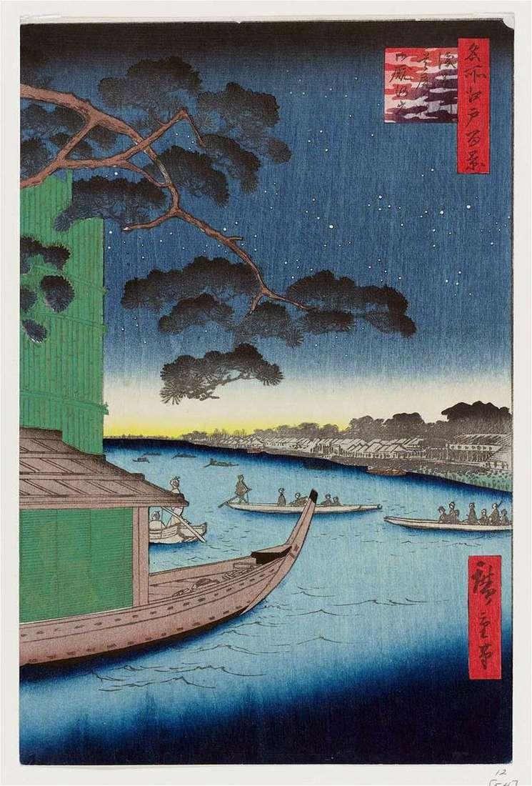 Сосна Сюби але мацу на річці Асакусагава, набережна Оммаягаси