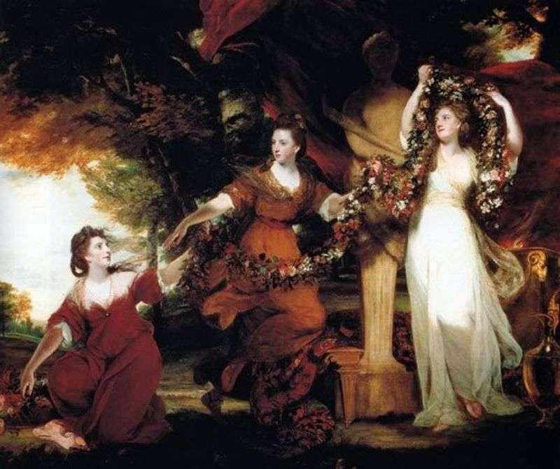 Три сестри Монтгомері у вигляді грацій, прикрашають квітами статуя Гіменея   Джошуа Рейнолдс