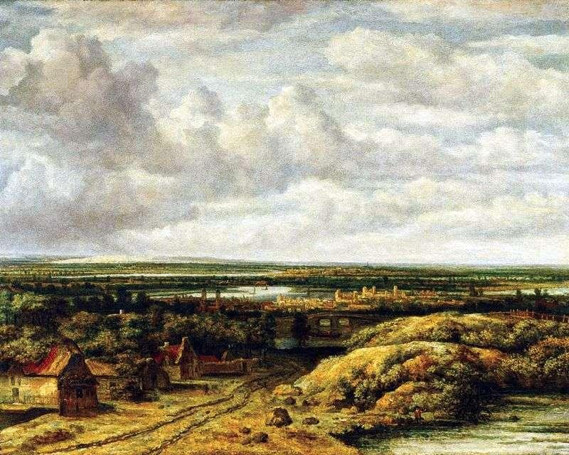Пейзаж з хатинами дороги   Філіпс Конинк