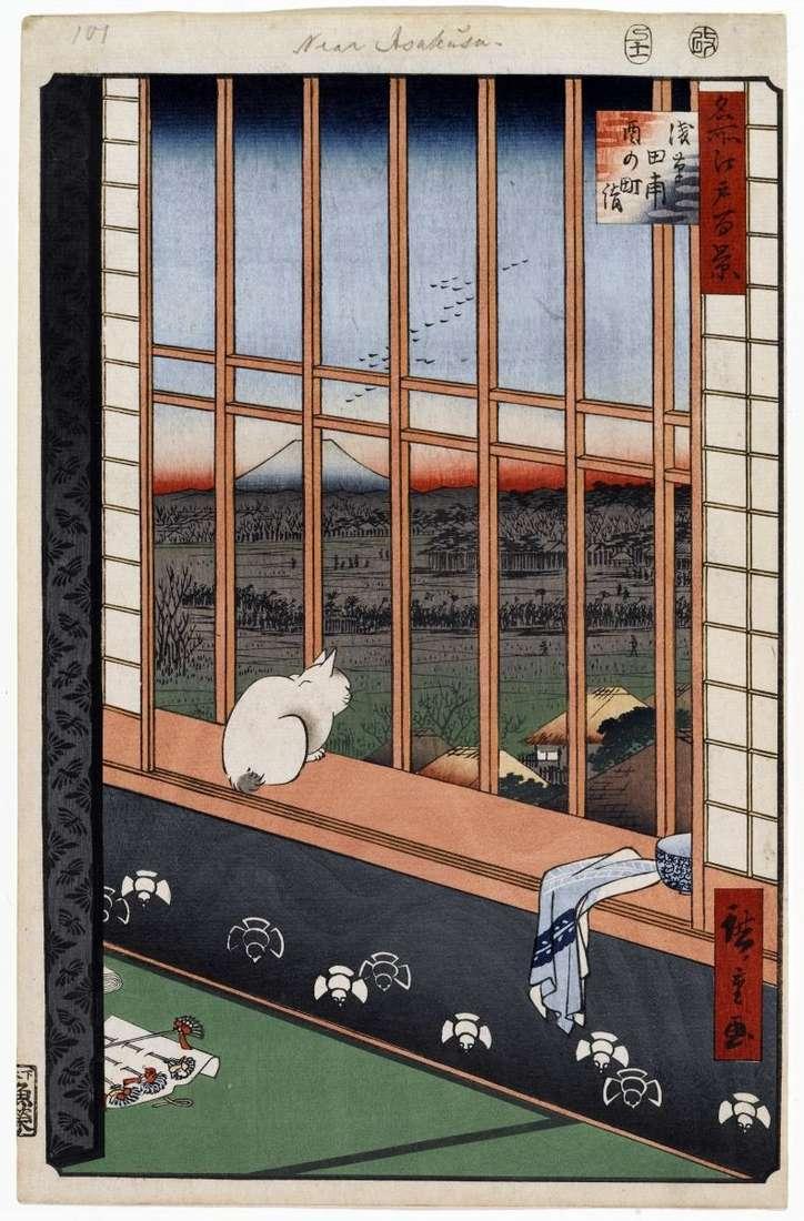 Фестиваль Ториномати на рисових полях Асакуса   Утагава Хиросигэ