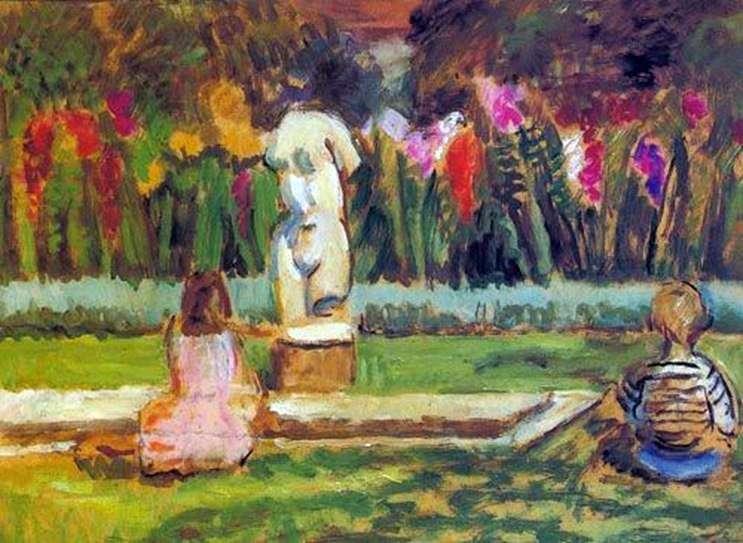 Генрієтта і Джуліан у садового ставка в Чарльстоні   Ванесса Белл