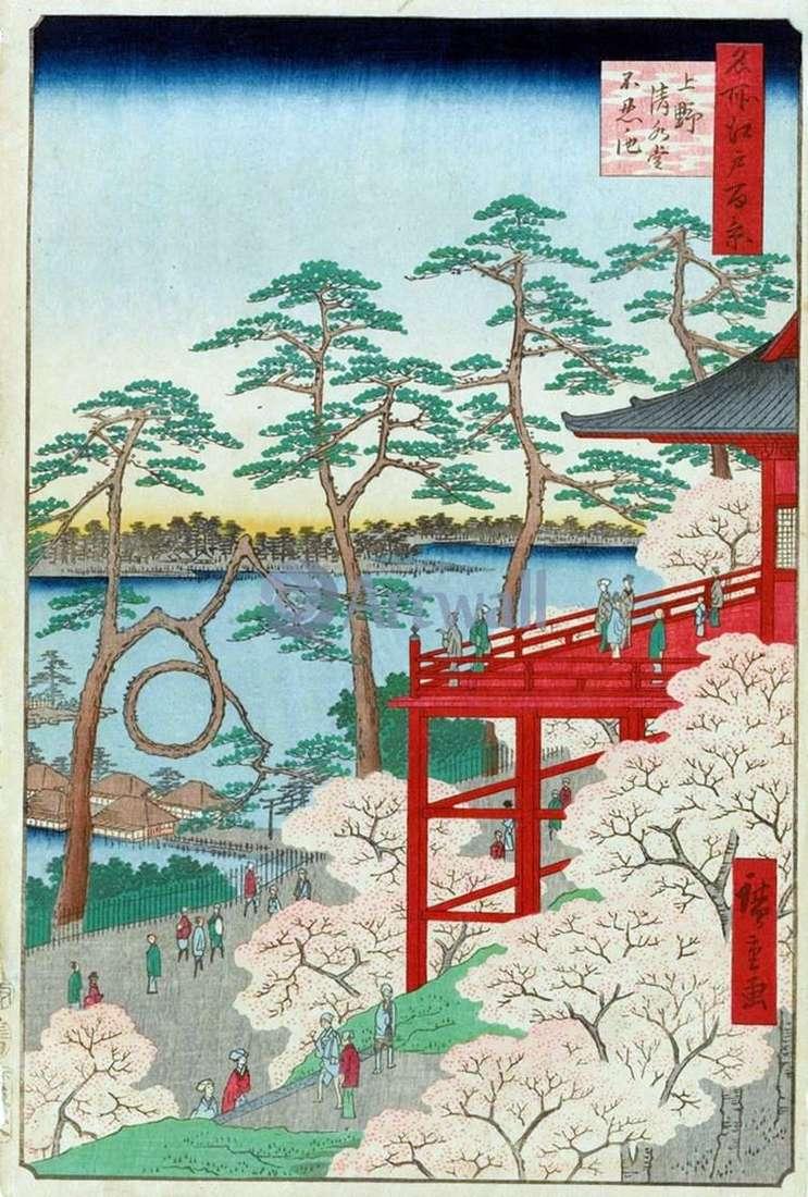 Храм Киемидзудо і ставок Синобадзу але икэ у Уено   Утагава Хиросигэ