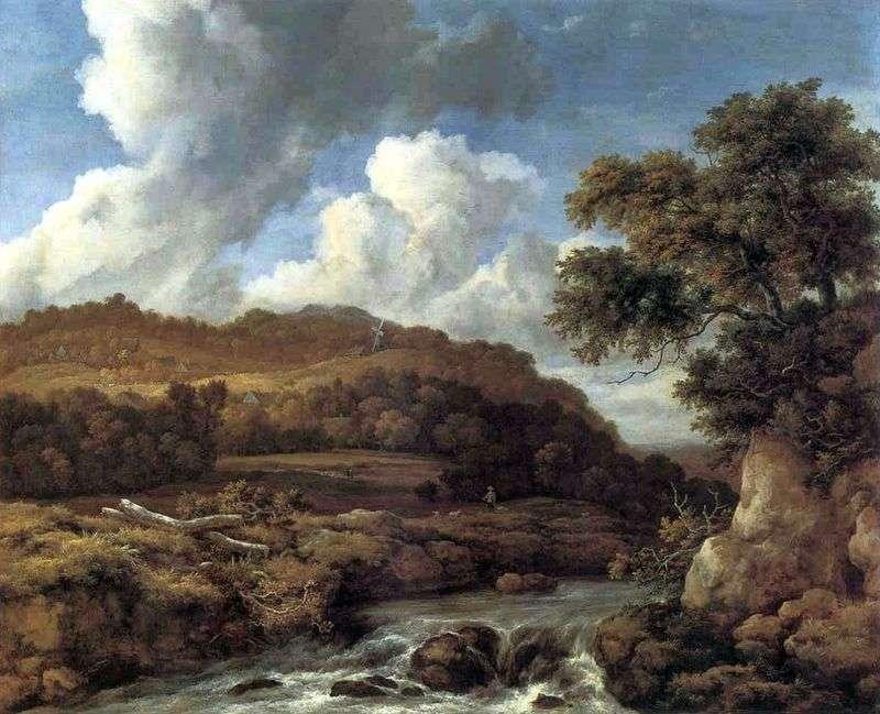 Пейзаж з лісистими пагорбами і струмком   Якоб ван Рейсдал