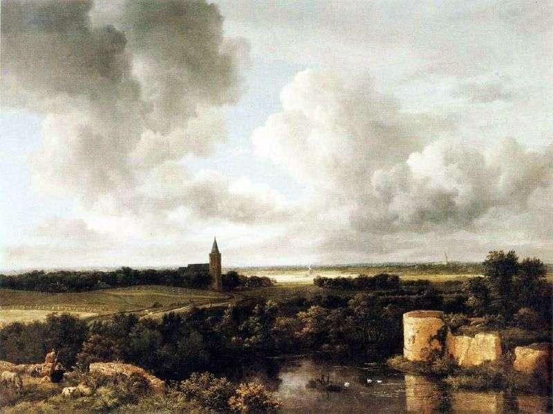 Пейзаж з руїнами замку і церквою   Якоб ван Рейсдал