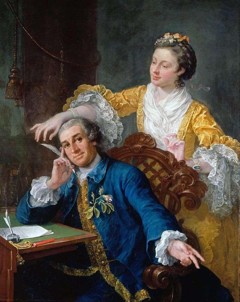 Портрет актора Гарріка з дружиною   Вільям Хогарт