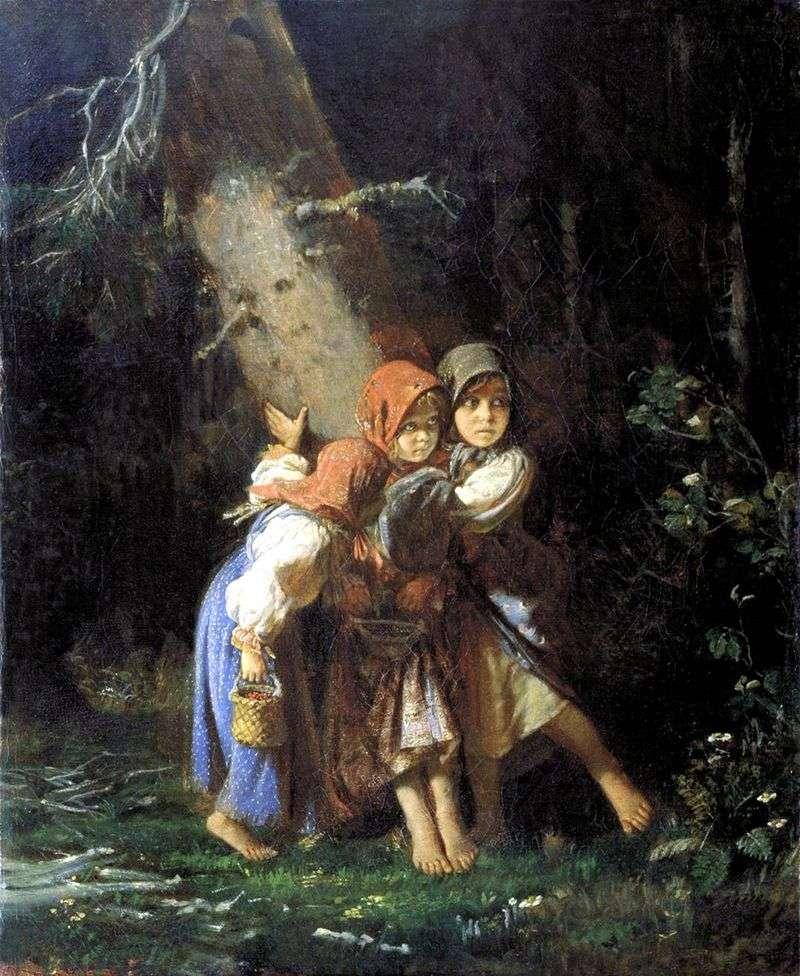 Селянські дівчинки у лісі   Олексій Корзухін