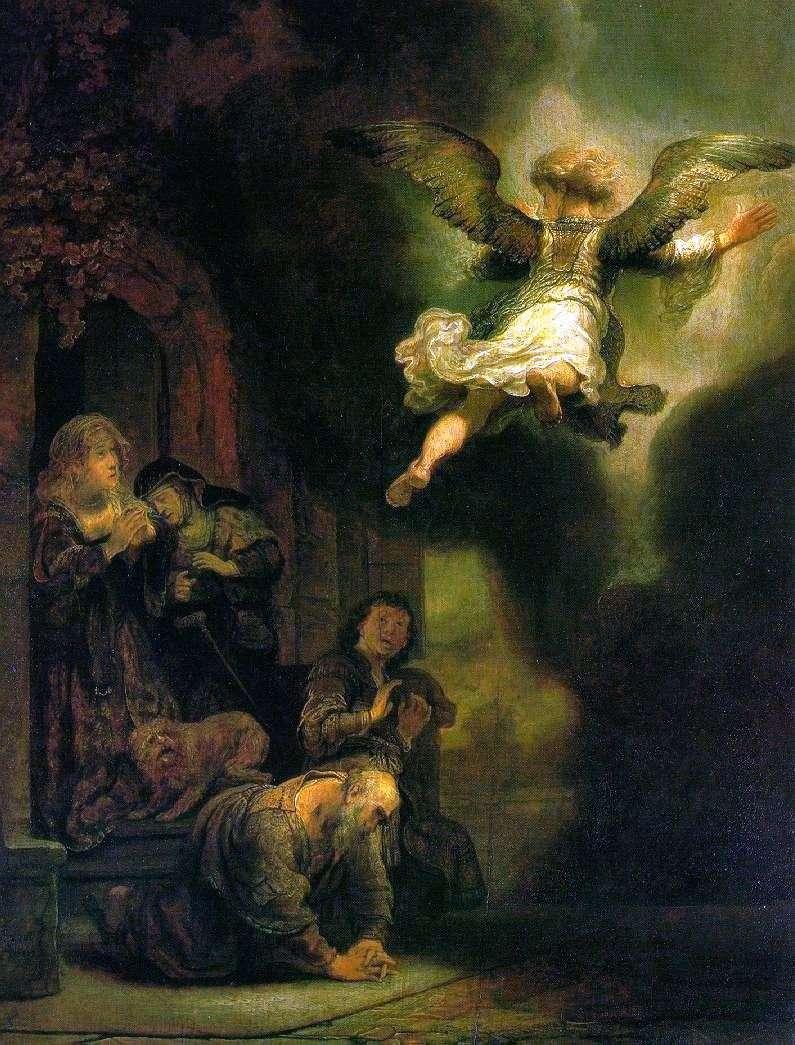 Архангел Рафаїл, який залишає сімейство Товії   Рембрандт Харменс Ван Рейн