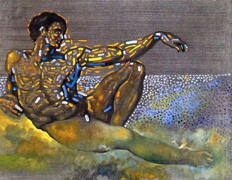 Персонаж, навіяний фігурою Адама з плафона Сікстинської капели в Римі   Сальвадор Далі