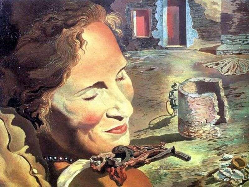 Портрет Гали з двома реберцями ягняти, балансують на її плечі   Сальвадор Далі