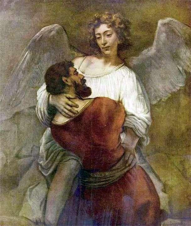 Яків бореться з ангелом   Рембрандт Харменс Ван Рейн