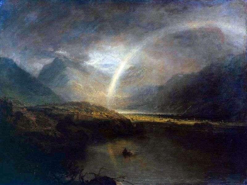 Озеро Баттермир з веселкою і зливою   Вільям Тернер