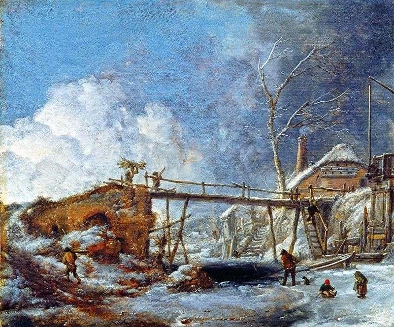 Зимовий пейзаж з деревяним мостом   Філіпс Вауверман