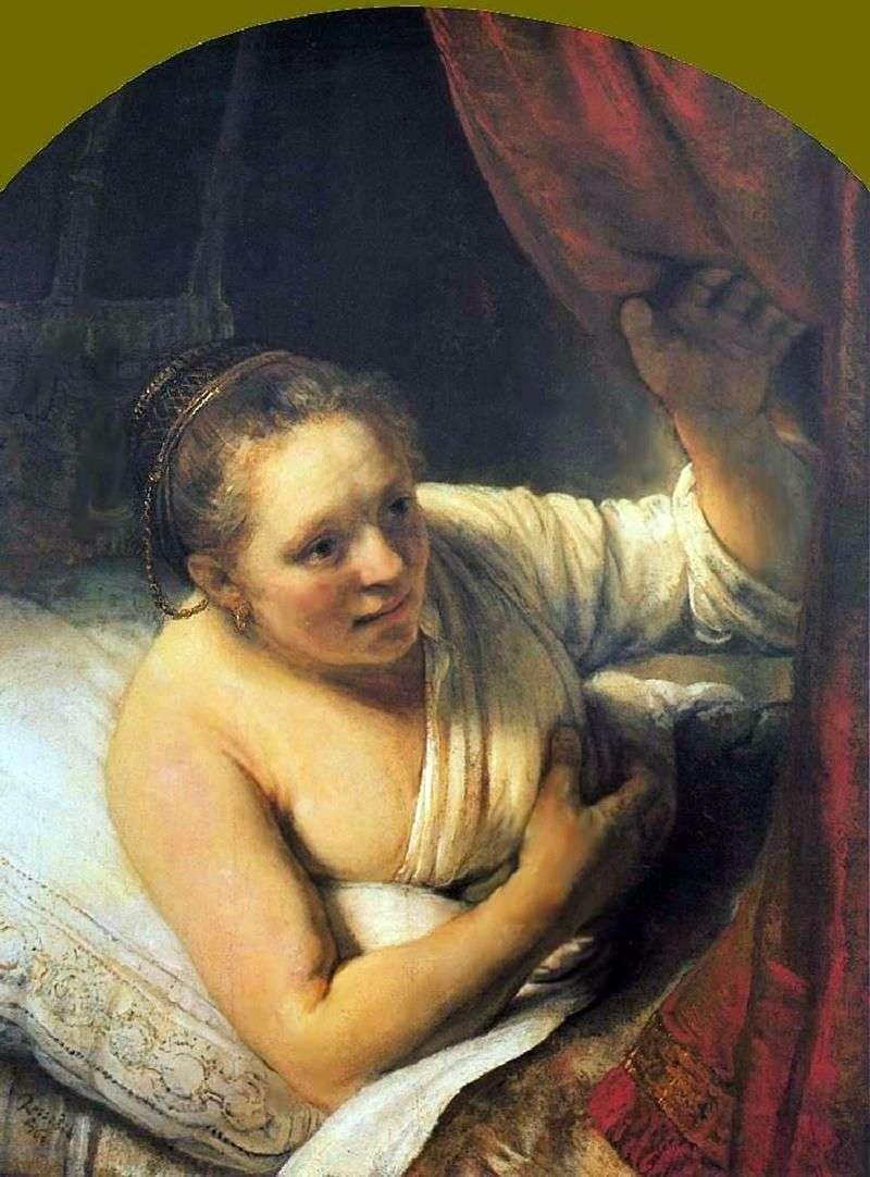 Молода жінка в ліжку   Рембрандт Харменс Ван Рейн