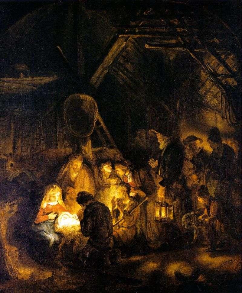 Поклоніння пастухів   Рембрандт Харменс Ван Рейн