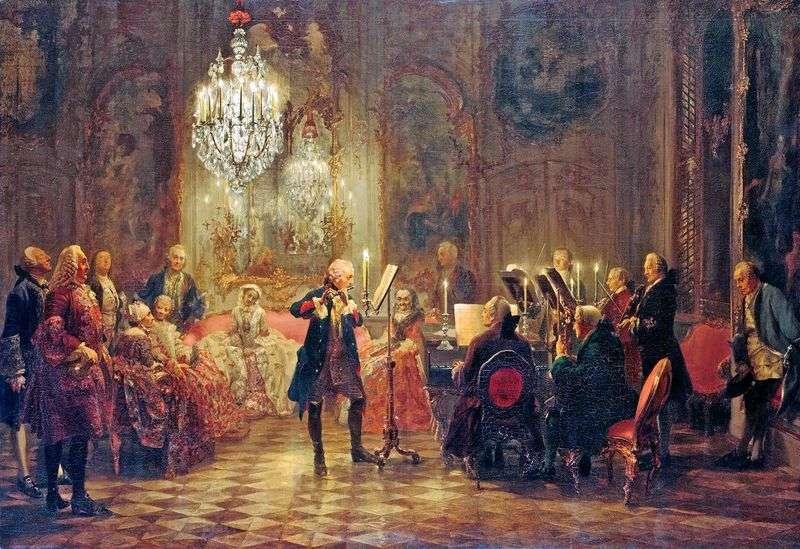 Концерт Фрідріха Великого в Сан Сусі   Адольф Менцель