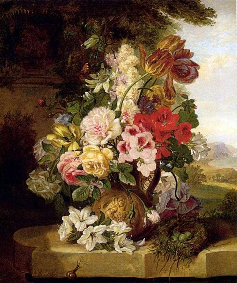Натюрморт з тюльпанів, троянд, інших квітів і метелики   Джон Вейнрайт