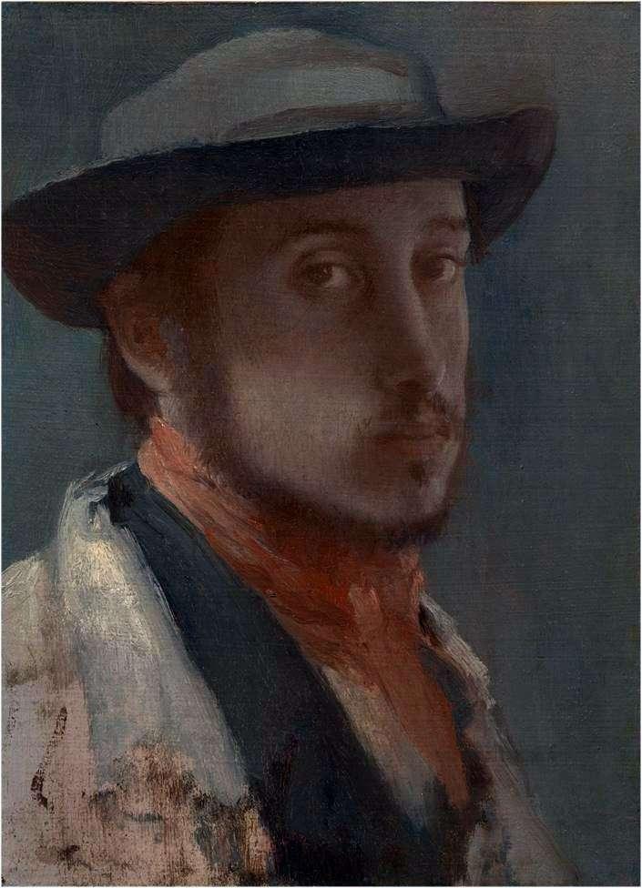 Автопортрет в мякому капелюсі   Едгар Дега