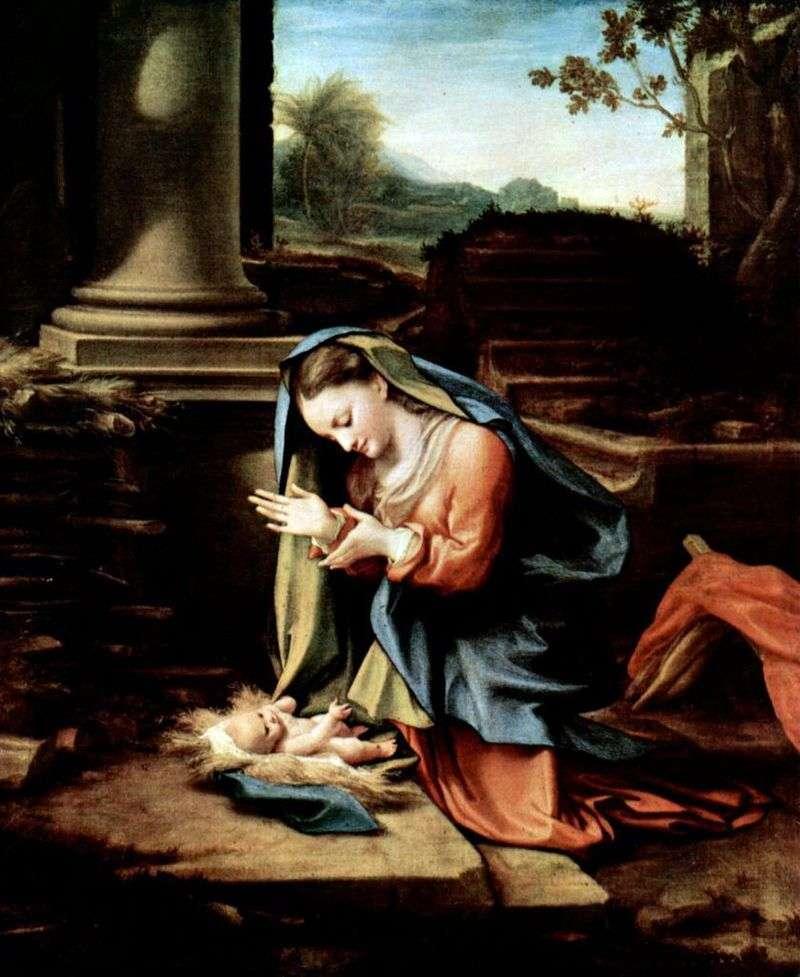 Діва Марія, що поклоняється дитині   Корреджо (Антоніо Алегрі)