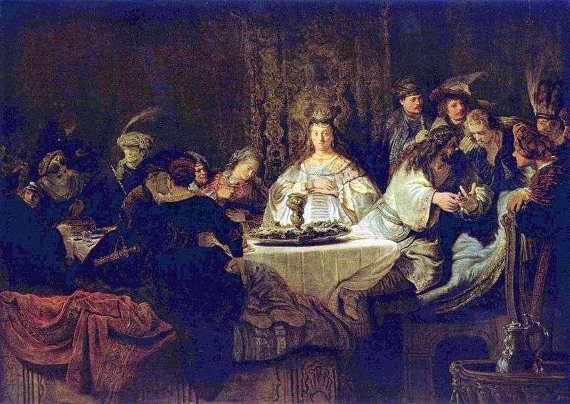 Самсон загадує загадку за весільним столом   Рембрандт Харменс Ван Рейн
