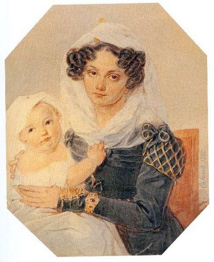 Портрет Марії Миколаївни Волконської з сином Миколою   Петро Соколов