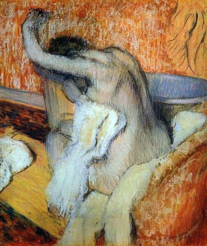 Жінка, витирающая себе рушником   Едгар Дега