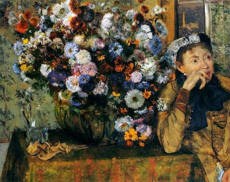 Жінка, яка сидить біля вази з квітами   Едгар Дега