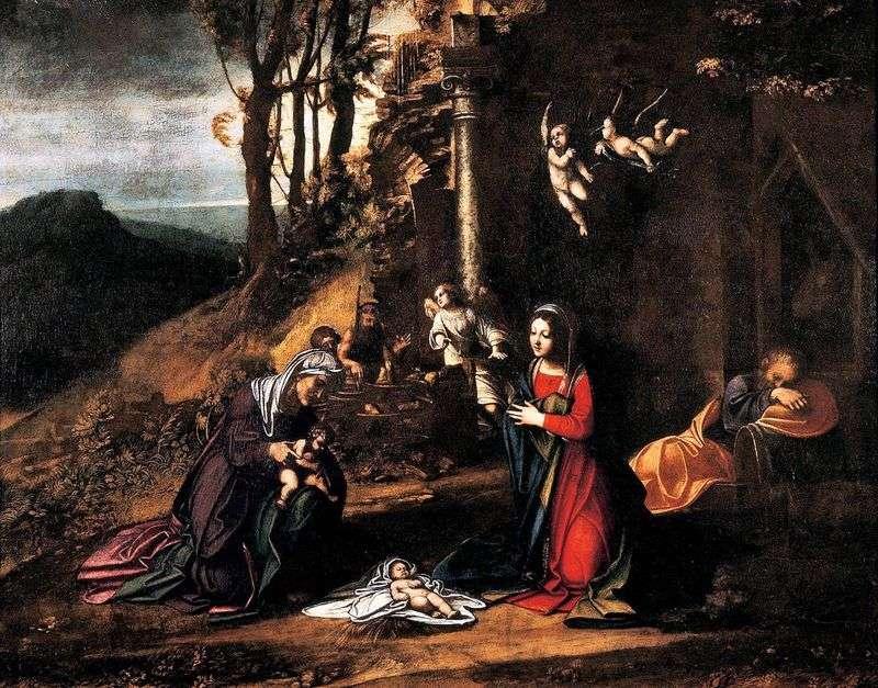 Різдво зі св. Єлизаветою і маленьким Іоанном Хрестителем   Корреджо (Антоніо Алегрі)