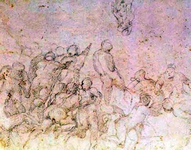 Підготовчий етюд до картини Битва при Кашині   Мікеланджело Буонарроті