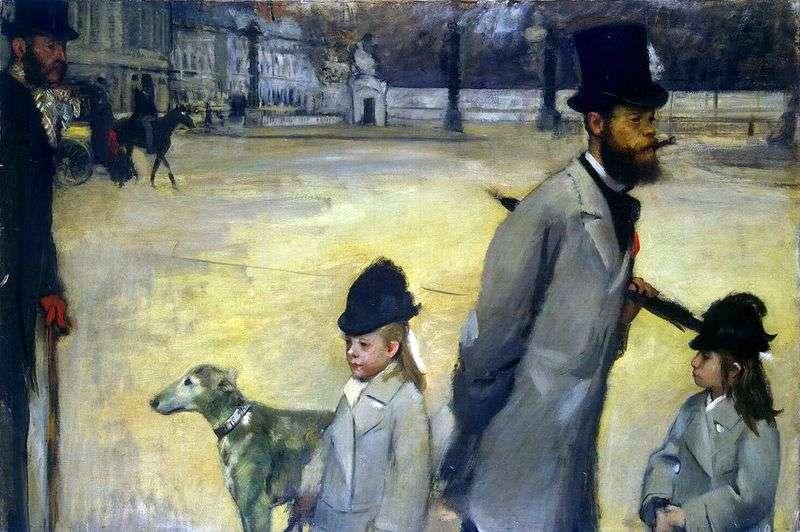 Портрет віконта Лепіка з дочками   Едгар Дега