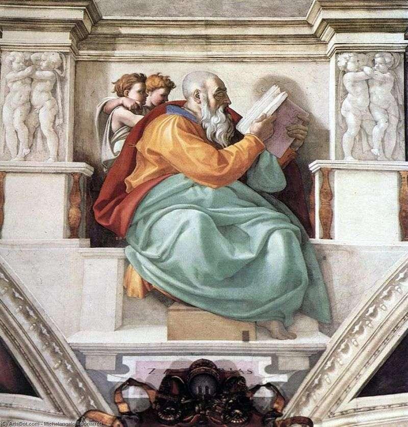 Пророк Захарія, батько Іоанна Хрестителя (фреска)   Мікеланджело Буонарроті