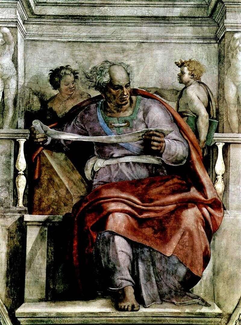 Пророк Йоіл (фреска)   Мікеланджело Буонарроті