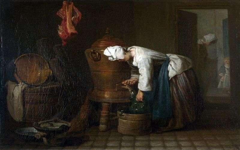 Жінка, наливающая воду з бака   Жан Батист Симеон Шарден