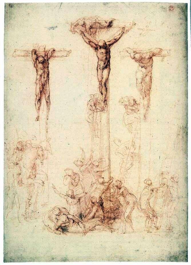 Етюд з трьома хрестами   Мікеланджело Буонарроті