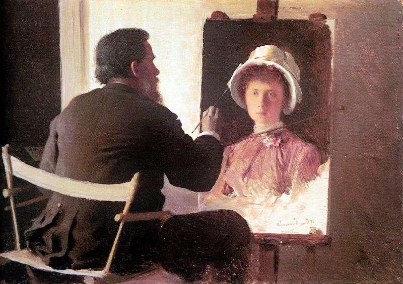 Крамськой, пише портрет своєї дочки   Іван Крамськой
