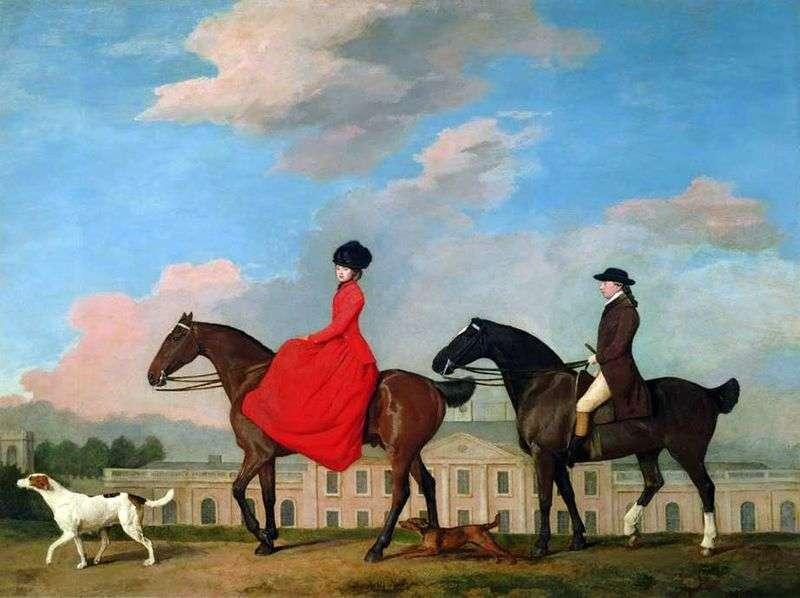 Верхової портрет Джона Мастерса і Софії Майстра в Колвик холі   Джордж Стаббс